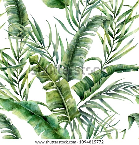 Watercolor tropical seamless pattern with coconut and banana palm leaves. Hand painted greenery exotic branch on white background. Botanical illustration for design, print, fabric or background