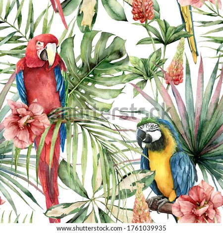 Watercolor tropical seamless pattern with parrots and hibiscus. Hand painted birds, flowers and jungle palm leaves. Floral illustration isolated on white background for design, print or background.