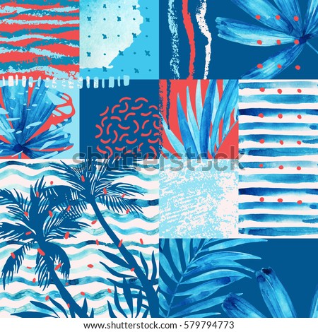 Watercolor tropical summer seamless pattern. Palm trees and leaves painting, doodles, grunge and watercolour textures in squares. Hand painted vivid illustration. Water color exotic background.