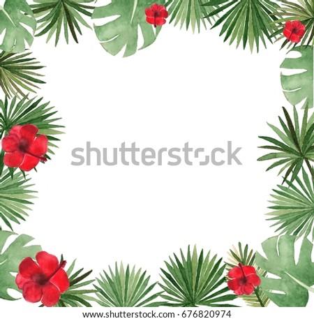Watercolor tropical template #676820974