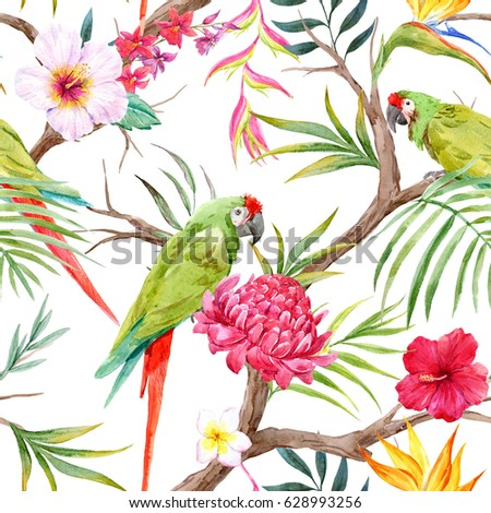 Shutterstock Watercolor tropical tree pattern with tropical plants. Flowers of hibiscus, blooming ginger, strelitzia and   Orchid, protea, palm leaves. Dark  background