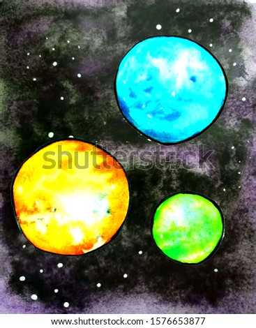 Watercolor universe with stars and planets.