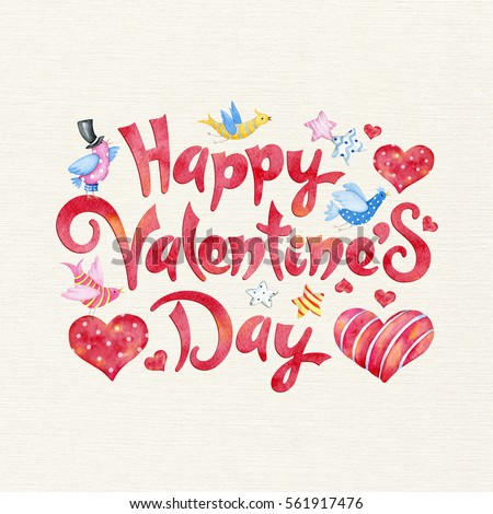Watercolor Valentine's Day Lettering Design