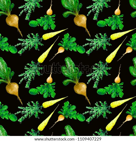 Watercolor Vegan Pattern. Seamless Hand Drawn  Vegetables. Healthy Food Print.  Redish, carrot, beet.