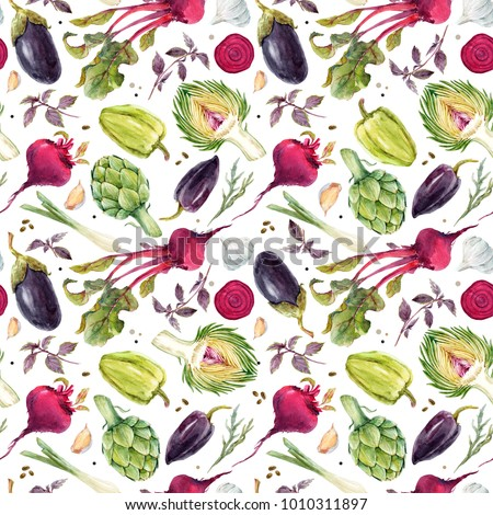 Watercolor vegetable pattern, beets, onions, garlic, artichoke, eggplant and pepper. Bright colorful background.