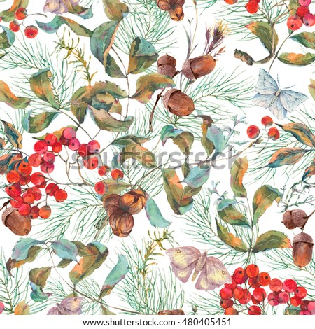 Watercolor vintage autumn seamless pattern with branches of rowan, spruce, acorns and butterflies. Natural fall botanical illustration.
