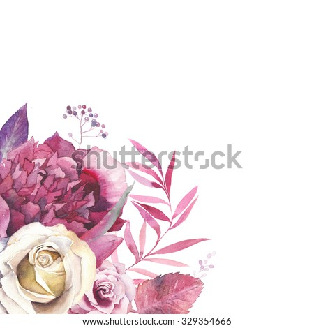 Watercolor vintage floral frame. Greeting card background with flowers and leaves bouquet in corner isolated on white background. Artistic natural design with magenta peony, pastel roses and branches