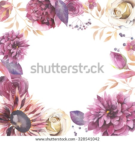 Watercolor vintage floral frame. Greeting card background with flowers, branches, leaves: peony, rose, dahlia,hellebore isolated on white background. Artistic natural design