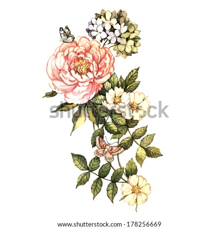 Watercolor vintage floral motifs Hand painting Illustration for greeting cards invitations and other printing projects