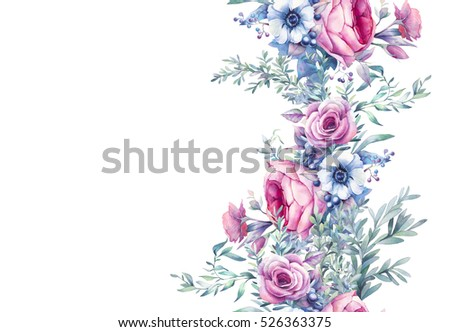 Watercolor vintage floral seamless pattern. Hand painted repeating ornament with bouquets of flowers on white background: peony, roses, anemone, eucalyptus, leaves, berries and branches. Banner decor.