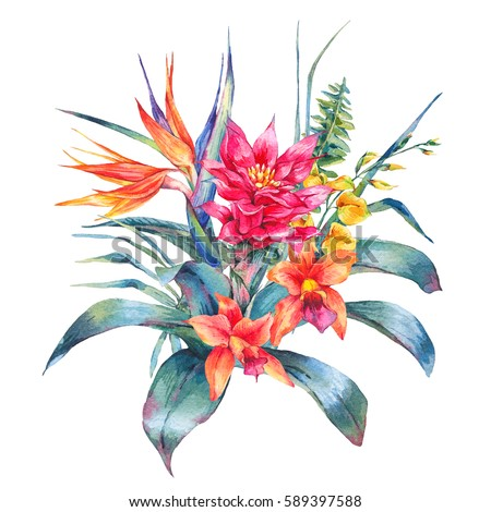 Watercolor vintage floral tropical greeting card. Exotic flowers, Bird of Paradise, fern, twigs and leaves. Botanical bright classic illustration isolated on white background.