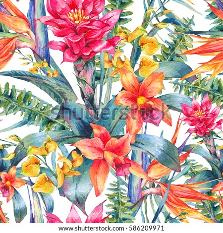 Watercolor vintage floral tropical seamless pattern. Exotic flowers, Bird of Paradise, twigs and leaves. Botanical bright classic illustration isolated on white background.