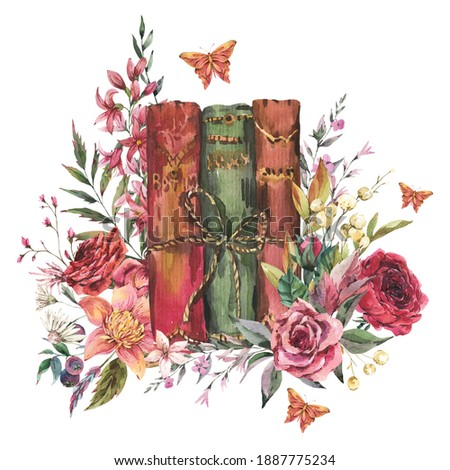 Watercolor vintage old books with flowers. Natural greeting card. Dark academia floral illustration isolated on white background. Foto stock ©