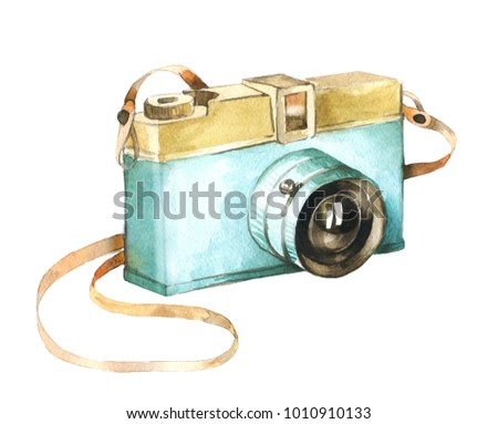 Watercolor vintage photo camera on white background. Retro film camera. Passion for photography. Watercolor illustration, clip art perfect for logo