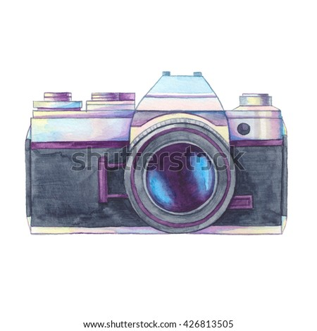 Watercolor vintage photo camera on white background. Retro film camera. Passion for photography. Watercolor illustration, clip art perfect for logo, invitation, brochure