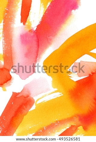 Watercolor wash background with red and orange layers. Can be used for print: bags, t-shirts, home decor, posters, cards, and for web: banners, blogs, advertisement.