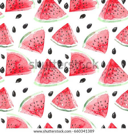 Watercolor watermelon slices and seeds seamless pattern