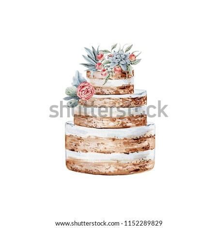 Watercolor wedding cake illustration