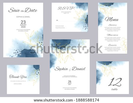 Watercolor wedding invitation cards. Floral poster, invite. Elegant wedding invitation with watercolor splash and gold floral elements