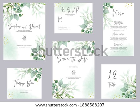 Watercolor wedding invitation cards. Greenery poster, invite. Elegant wedding invitation with watercolor green and gold floral elements