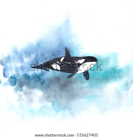 Watercolor whale on blue background. Ocean life.