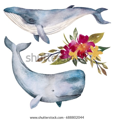 watercolor whales and flowers...