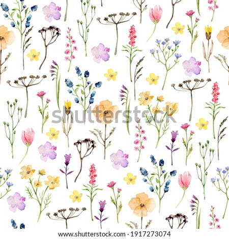 Watercolor wild flowers pattern.Meadow flowers.Flowers and herbs seamless pattern Stockfoto ©