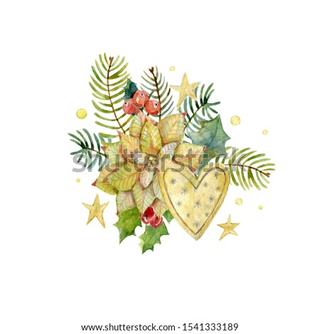 Watercolor winter bouquet with poinsettia, holly leaves, holly berries, stars, fir branches and heart. Christmas design. New year composition.