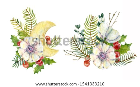 Watercolor winter bouquets with anemone flowers, holly leaves, holly berries,  fir branches, mistletoe and decorative moon. Christmas design. New year composition.