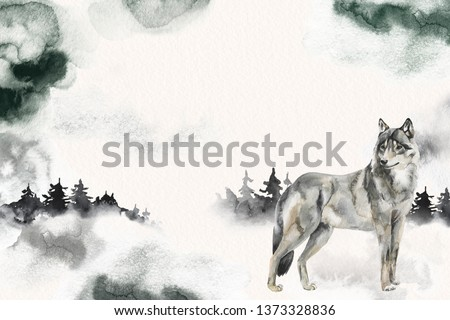 Watercolor winter forest. Wolf animal, spruces and foggy. Splotches sky. Hand painted card. Ideal for book page illustration design.