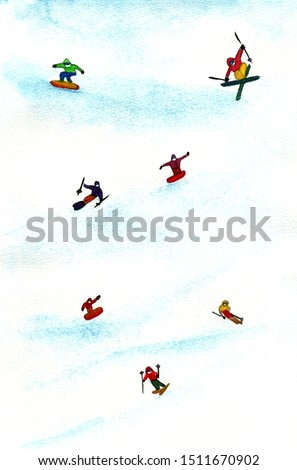 Watercolor winter poster,card,postcard.Snowboarder and skiers ride in the mountains.Winter illustration.