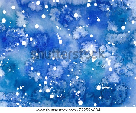 Watercolor winter snowy blue sky pattern. Hand drawn frosty christmas illustration. Abstract background, watercolor painting.  Snowfall backdrop. Holiday drawing.  #722596684