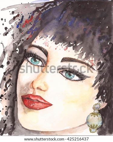 Stock Photo Watercolor woman portrait with Cleopatra make up, blue eyes, red lips, pearl glass earring jewels. Beautiful fashion girl with handmade brush painting, hand drawn illustration art. Original artistic.