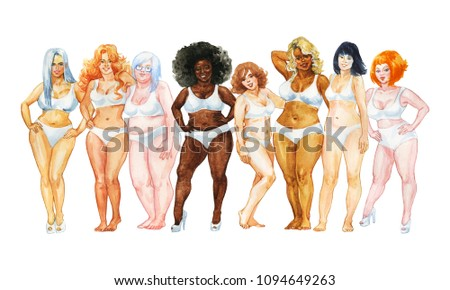 Watercolor women portrait. Hand drawn group of international ladies. Painting beauty illustration of body positive, feminism, tolerance and equality
