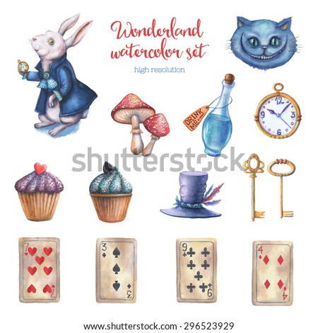 Watercolor wonderland set. Hand drawn vintage illustrations. Fairy tale design elements isolated on white background.