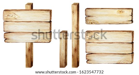 Watercolor Wooden signboards, empty Blank isolated. Set of vintage old, retro Hand painted wood banners, planks, board. Signs for messages for pathfinding. Illustration with space for text