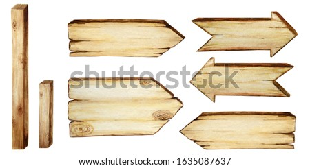 Watercolor Wooden signboards, empty Blank isolated. Set of vintage old, retro Hand painted wood banners, planks, board. Signs for messages with arrow for pathfinding. Illustration with space for text