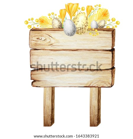 Watercolor Wooden signboards, empty Blank isolated with spring easter decoration. Vintage old, retro Hand painted wood banners, planks, board. Signs for messages. Illustration with space for text