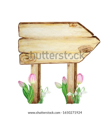Watercolor Wooden signboards, empty Blank isolated with spring flowers decoration. Vintage old, retro Hand painted wood banners, planks, board. Signs for messages. Illustration with space for text