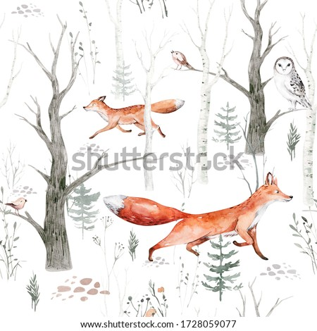 Watercolor Woodland animals seamless pattern. Fabric wallpaper background with Owl, hedgehog, fox and butterfly,  bird baby animal, Scandinavian Nursery