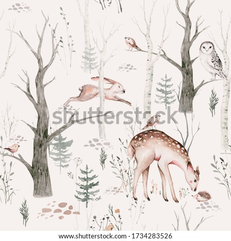 Watercolor Woodland animals seamless pattern. Fabric wallpaper background with Owl, hedgehog, fox and butterfly, Bunny rabbit set, bear and bird baby animal, Scandinavian Nursery