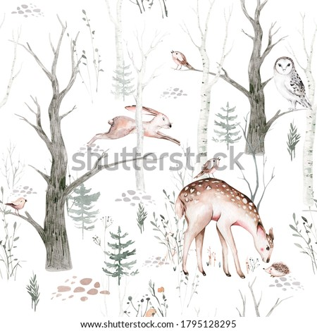 Watercolor Woodland animals seamless pattern. Fabric wallpaper background with Owl, hedgehog, fox and butterfly, Bunny rabbit set of forestbear and bird baby animal, Scandinavian Nursery