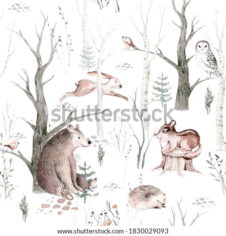 Watercolor Woodland animals seamless pattern. Fabric wallpaper background with Owl, hedgehog, fox and butterfly, Bunny rabbit set of forest squirrel and chipmunk, bear  bird baby animal, Scandinavian
