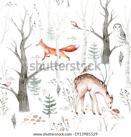 Watercolor Woodland animals seamless pattern. Fabric wallpaper background with Owl, hedgehog, fox and butterfly, Bunny  forest squirrel and chipmunk, bear and bird baby animal, Scandinavian Nursery