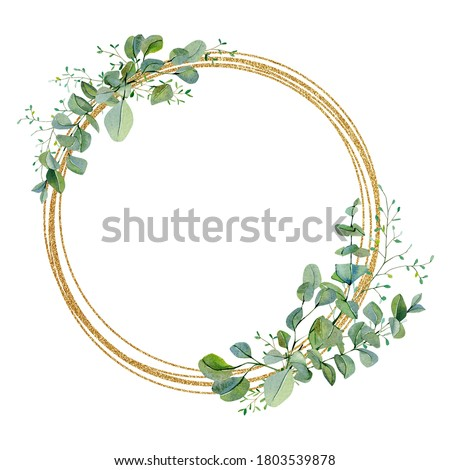 Watercolor wreath green floral with eucalyptus greenery leaves on golden frame. Baby nursery decor, greenery baby shower, wedding card, greenery invintation card .