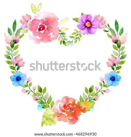 Watercolor wreath illustration. Best for invitation, birthday, wedding