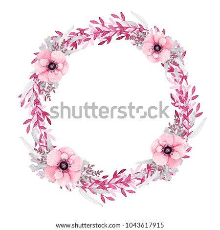 Watercolor wreath on white background. Spring round frame flower and leaves. Pink, greenery.  Floral design. Perfect for card, poster, postcard, invitations, wedding,birthday party.