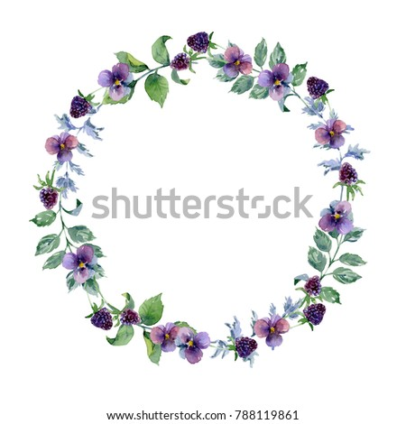 Watercolor wreath with violets and blackberries frame border watercolor wreath with violets and blackberries frame border background greeting card m4hsunfo