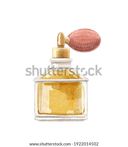 Watercolor yellow perfume in vintage dainty bottle with pulverizer pomp isolated on white background. Watercolor hand drawn illustration sketch Stock fotó ©