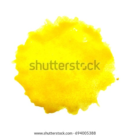 Watercolor yellow spot on a white background. Abstraction. Elements for design. Round print of the brush. - Shutterstock ID 694005388